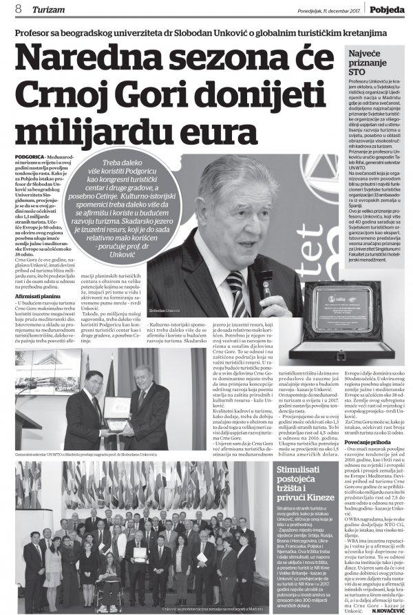 Nacionalna turisticka organizacija Crne Gore nagradila prof.dr Slobodana Unkovica - 4